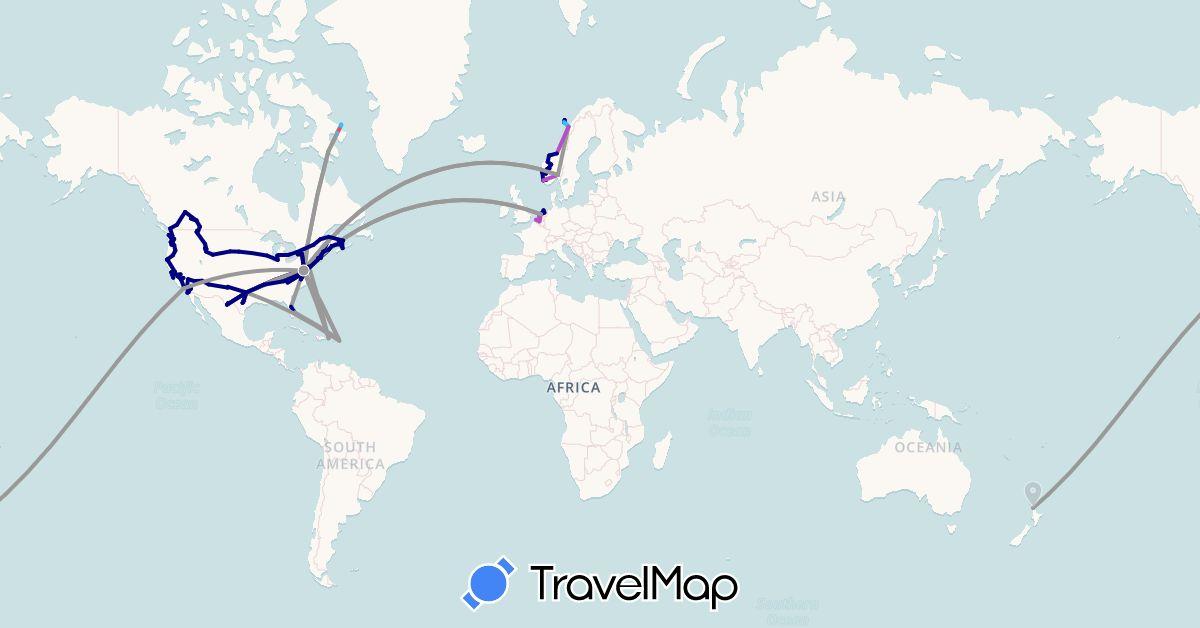 TravelMap itinerary: driving, plane, train, hiking, boat in Belgium, Bahamas, Canada, Dominican Republic, Netherlands, Norway, New Zealand, United States, U.S. Virgin Islands (Europe, North America, Oceania)